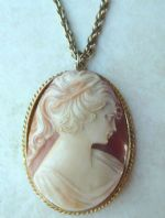 Vintage Large Cameo Pendant And Necklace By Sphinx.
